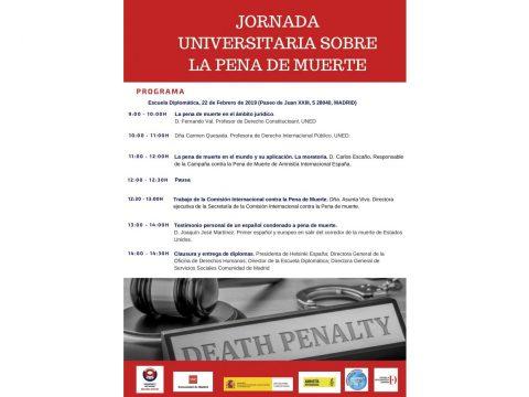 Programa jornada universitaria sobre la pena de muerte